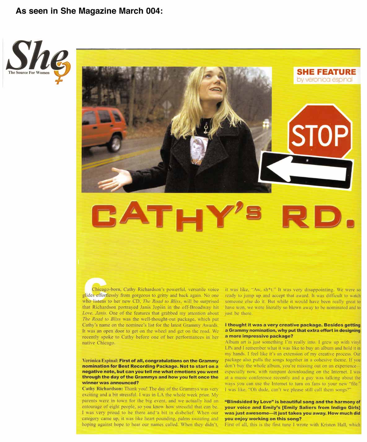 scan of She article